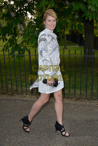Meredith Ostrom<br /> Serpentine Gallery Summer Party, Kensington Park Gardens, London, England.<br /> 26th June 2013<br /> full length white dress blue print pattern grey gray long sleeves slit split black sandals shoes side <br /> CAP/PL<br /> &copy;Phil Loftus/Capital Pictures