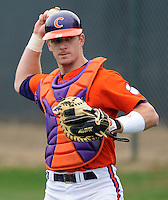 Clemson catcher Doug Hogan warms up prior to a game between the Clemson Tigers and Mercer Bears on Feb. 24, 2008, at Doug Kingsmore Stadium in Clemson, S.C. Photo by: Tom Priddy/Four Seam Images