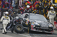 14 September 2008--Clint Bowyer makes a pit stop during the Sylvania 300 at New Hampshire Motor Speedway in Loudon, NH.  (Brian Cleary/BCPix.com)