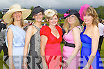 Deirdre O'Brien, Lissivigeen, Killarney, Irene Enfield, Killarney, Margaret Horan, Glenflesk, Catriona Foley, Killarney, Deirdre Foley, Killarney at Killarney races ladies day on Thursday.