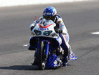 Sep 28, 2013; Madison, IL, USA; NHRA pro stock motorcycle rider Hector Arana Jr during qualifying for the Midwest Nationals at Gateway Motorsports Park. Mandatory Credit: Mark J. Rebilas-