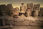 Israel, Jerusalem, reconstructed Edomite shrine with ritual vessels from Hatzeva, 7th century BC, at the Israel Museum
