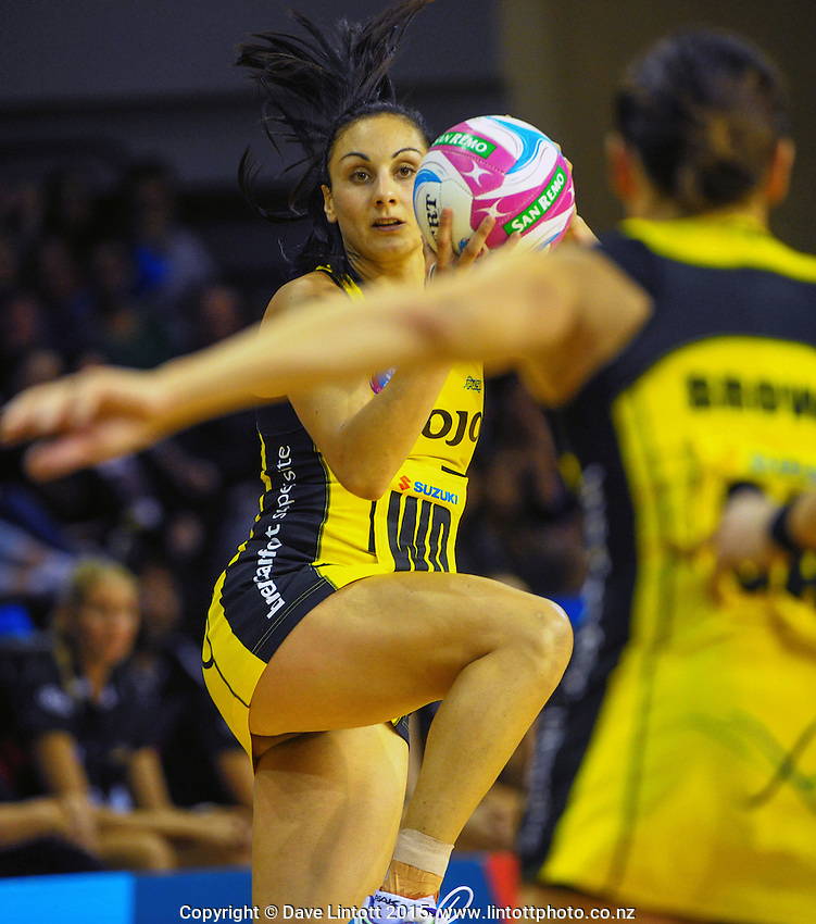 Joline Henry in action during the ANZ Netball Championship match between the Central Pulse and Waikato Bay Of Plenty Magic at TSB Bank Arena, Wellington, New Zealand on Monday, 30 March 2015. Photo: Dave Lintott / lintottphoto.co.nz