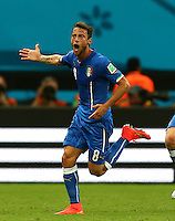 Claudio Marchisio of Italy celebrates scoring his goal to make the score 1-0