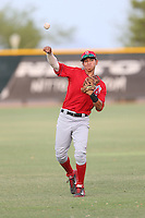 Franklin Torres (7) of the AZL Angels throws before a game against the AZL Rangers at the Texas Rangers Spring Training Complex on July 1, 2015 in Surprise, Arizona. Rangers defeated the Angels, 3-1. (Larry Goren/Four Seam Images)