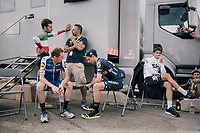 'That day you got off work early and the bar wasn't  open yet'… <br /> or just Mikel Landa (ESP/SKY), Simon Yates (GBR/Orica-Scott), Daniel Martin (IRE/QuickStep Floors) &  Fabio Aru (ITA/Astana) waiting for doping control after the race.<br /> <br /> 104th Tour de France 2017<br /> Stage 20 (ITT) - Marseille › Marseille (23km)