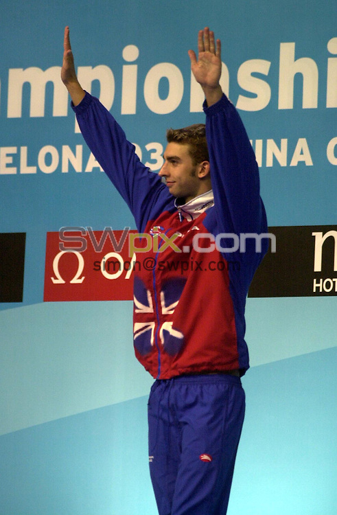 Pix: Matthew Lewis/SWpix.com. Swimming. 10th Fina World Championships 2003, Barcelona. 21/07/2003...COPYRIGHT PICTURE>>SIMON WILKINSON>>01943 436649>>..Great Britain's James Gibson.