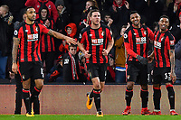 Lys Mousset of AFC Bournemouth celebrates scoring the second goal with Jordon Ibe of AFC Bournemouth (33) during AFC Bournemouth vs Stoke City, Premier League Football at the Vitality Stadium on 3rd February 2018