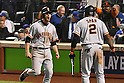 (L-R) Conor Gillaspie, Denard Span (Giants),<br /> OCTOBER 5, 2016 - MLB :<br /> Conor Gillaspie of the San Francisco Giants celebrates with his teammate Denard Span after hitting a three-run home run in the ninth inning during the National League Wild Card Game against the New York Mets at Citi Field in Flushing, New York, United States. (Photo by Hiroaki Yamaguchi/AFLO)