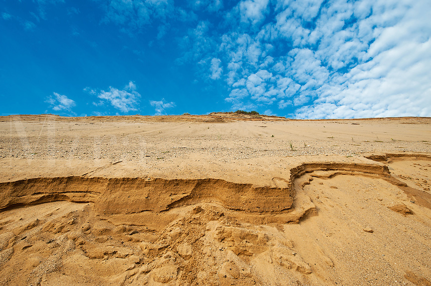 Steep dune cliff along the shoreline shows signs of continued erosion, Cape Cod National Seashore, Truro, Cape Cod, MA