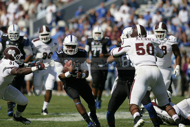 UK freshman quarterback Jalen Whitlow runs the ball in the second half of the University of Kentucky football game vs. the Mississippi State Bulldogs at Commonwealth Stadium in Lexington, Ky., on Oct. 6, 2012. Mississippi State won 27-14. Photo by Becca Clemons | Staff