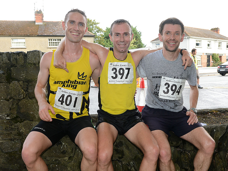 Gary O'Hanlon first, Daragh Greene second and Brian McCluskey third in the Turfman 10K run in Ardee. Photo:Colin Bell/pressphotos.ie