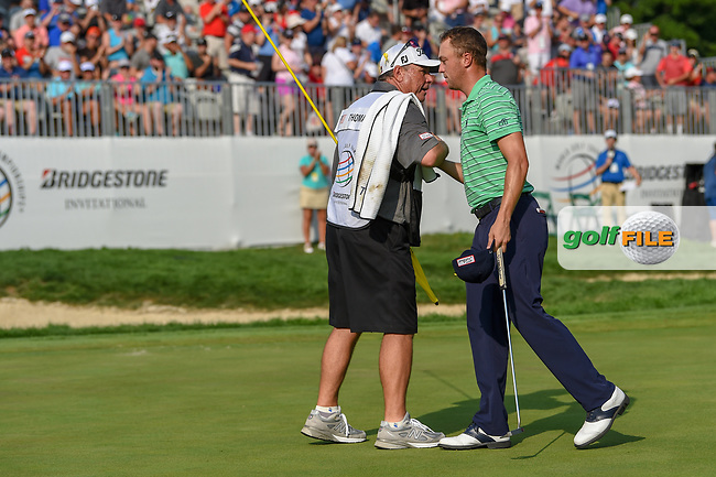 Justin Thomas (USA) wins the 2018 World Golf Championships - Bridgestone Invitational, at the Firestone Country Club, Akron, Ohio. 8/5/2018.<br /> Picture: Golffile   Ken Murray<br /> <br /> <br /> All photo usage must carry mandatory copyright credit (© Golffile   Ken Murray)