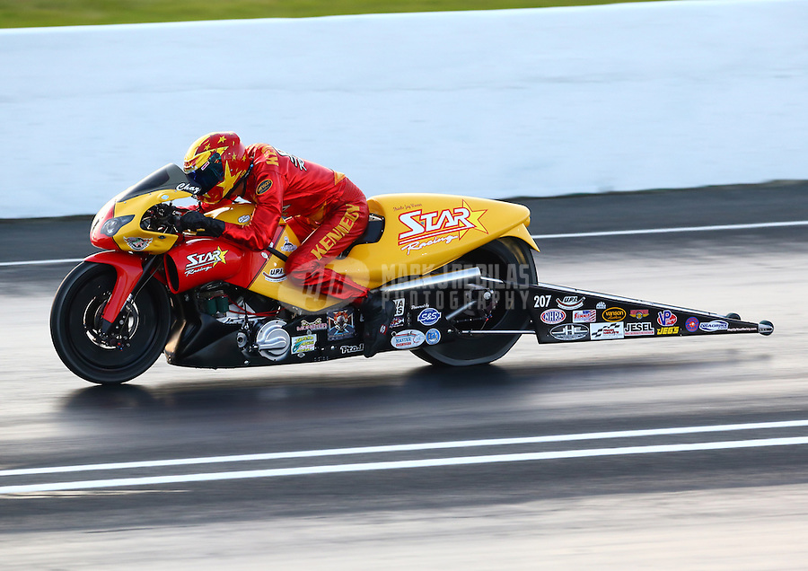May 30, 2014; Englishtown, NJ, USA; NHRA pro stock motorcycle rider Chaz Kennedy during qualifying for the Summernationals at Raceway Park. Mandatory Credit: Mark J. Rebilas-