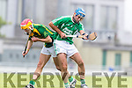 Jordan Brick Kilmoyley in action against Liam Boyle Ballyduff in the County Senior Hurling Final at Austin Stack Park on Sunday.