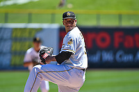 Salt Lake Bees starting pitcher Alex Sanabia (34) delivers a pitch to the plate against the El Paso Chihuahuas in Pacific Coast League action at Smith's Ballpark on July 26, 2015 in Salt Lake City, Utah. El Paso defeated Salt Lake 6-3 in 10 innings. (Stephen Smith/Four Seam Images)