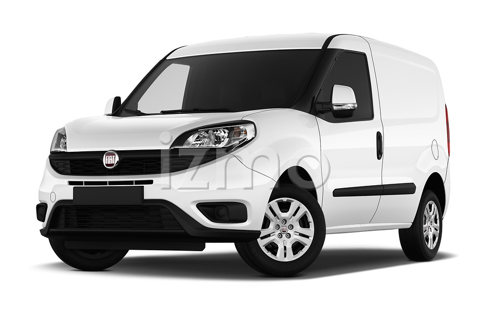 Stock pictures of low aggressive front three quarter view of 2016 Fiat Doblo Pack 4 Door Cargo Van