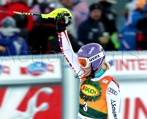 22 01 2012  Ski Alpine FIS WC Kranjska Gora Slalom women  World Cup Slalom for women Picture shows the cheering from Michaela Kirchgasser AUT