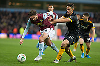 30th October 2019; Villa Park, Birmingham, Midlands, England; English Football League Cup, Carabao Cup, Aston Villa versus Wolverhampton Wanderers; Henri Lansbury of Aston Villa with the ball at his feet getting away from Maximilian Kilman of Wolverhampton Wanderers  - Strictly Editorial Use Only. No use with unauthorized audio, video, data, fixture lists, club/league logos or 'live' services. Online in-match use limited to 120 images, no video emulation. No use in betting, games or single club/league/player publications