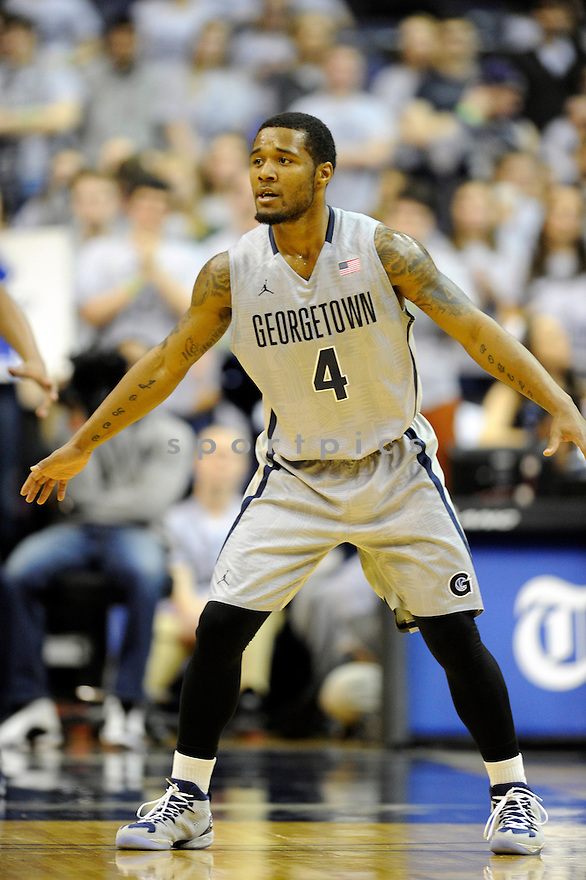 Georgetown Hoyas D'Vauntes Smith-Rivera (4) during a game against the Providence Friars on February 10, 2014 at the Verizon Center in Washington, DC. Georgetown beat Providence 83-71.