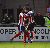 Lincoln City's Matt Green, left, celebrates scoring his sides second goal with team-mate Lee Frecklington<br /> <br /> Photographer Chris Vaughan/CameraSport<br /> <br /> The EFL Sky Bet League Two - Lincoln City v Notts County - Saturday 13th January 2018 - Sincil Bank - Lincoln<br /> <br /> World Copyright &copy; 2018 CameraSport. All rights reserved. 43 Linden Ave. Countesthorpe. Leicester. England. LE8 5PG - Tel: +44 (0) 116 277 4147 - admin@camerasport.com - www.camerasport.com