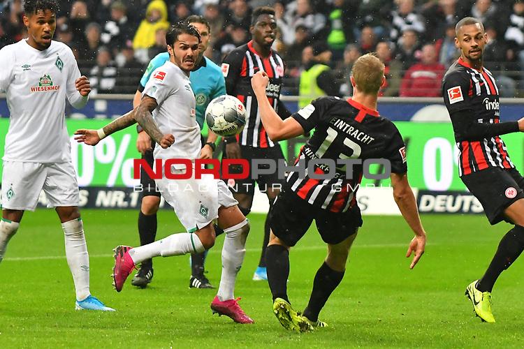 06.10.2019, Commerzbankarena, Frankfurt, GER, 1. FBL, Eintracht Frankfurt vs. SV Werder Bremen, <br /> <br /> DFL REGULATIONS PROHIBIT ANY USE OF PHOTOGRAPHS AS IMAGE SEQUENCES AND/OR QUASI-VIDEO.<br /> <br /> im Bild: Leonardo Bittencourt (SV Werder Bremen #10), Martin Hinteregger (Eintracht Frankfurt #13)<br /> <br /> Foto © nordphoto / Fabisch