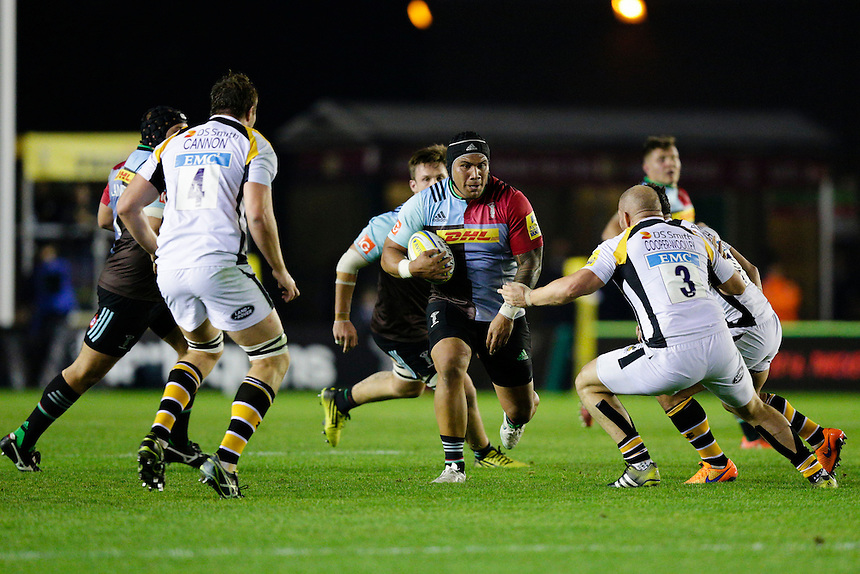 Harlequins' Mat Luamanu on the charge<br /> <br /> Photographer Craig Mercer/CameraSport<br /> <br /> Rugby Union - Aviva Premiership - Harlequins v Wasps - Friday 16th October 2015 - The Stoop - London<br /> <br /> &copy; CameraSport - 43 Linden Ave. Countesthorpe. Leicester. England. LE8 5PG - Tel: +44 (0) 116 277 4147 - admin@camerasport.com - www.camerasport.com