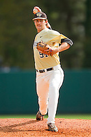 Wake Forest Demon Deacons relief pitcher Chris Willson #91 in action against the North Carolina State Wolfpack at Doak Field at Dail Park on March 17, 2012 in Raleigh, North Carolina.  The Wolfpack defeated the Demon Deacons 6-2.  (Brian Westerholt/Four Seam Images)