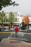 USA, Oregon, Ashland, street scene in downtown Ashland on East Main Street