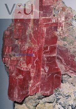 Rhodochrosite (MnCO3) with Quartz, an ore of Manganese, Colorado, USA.