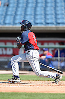 Eric Jenikins Jr (6) of West Columbus High School in Chadbourn, North Carolina playing for the Cleveland Indians scout team during the East Coast Pro Showcase on July 31, 2014 at NBT Bank Stadium in Syracuse, New York.  (Mike Janes/Four Seam Images)