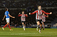 Josh Hancock of Altrincham scores and celebrates during Portsmouth vs Altrincham, Emirates FA Cup Football at Fratton Park on 30th November 2019