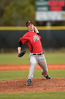 Illinois State Redbirds pitcher Jacob Hendren (35) during a game against the Georgetown Hoyas on March 7, 2015 at North Charlotte Regional Park in Port Charlotte, Florida.  Illinois State defeated Georgetown 2-1.  (Mike Janes/Four Seam Images)