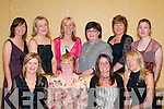 LOVELY LADIES: The hard working Dr Crokes ladies committee relaxing at their social in the Dromhall Hotel, Killarney on Saturday were front l-r: Breda Cronin, Noreen O'Connor, Debrane O'Shea and Anne Byrnes. Back l-r: Anne O'Neill, Maria Doherty, Frances O'Sullivan, Anne Bartlett, Siobha?n Courtney and Noreen Cooper.   Copyright Kerry's Eye 2008
