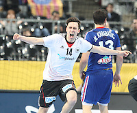18.01.2013 Barcelona, Spain. IHF men's world championship, prelimanary round. Picture show Patrick Groetzki   in action during game between France vs Germany at Palau St Jordi