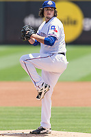 Round Rock pitcher Luke Jackson (77) set to deliver a pitch during a baseball game, Sunday May 03, 2015 in Round Rock, Tex. Express sweep four game series by defeating Sounds 5-4. (Mo Khursheed/TFV Media via AP images)