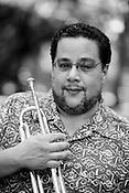 June 06, 2008. Durham, NC..North Carolina based salsa band, Orquesta GarDel.. Alberto Carrasquillo, trumpet.