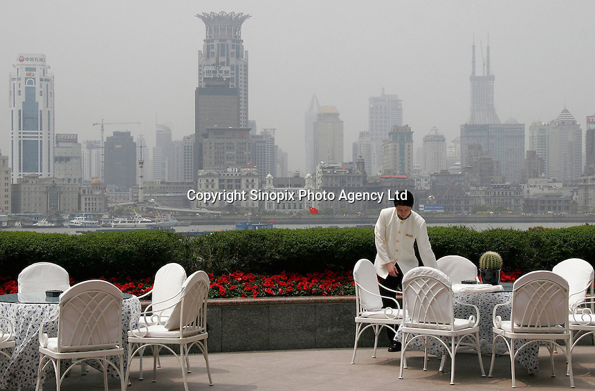 A view from the terrance of the Pudong Shangri-La Hotel in Shanghai, China..09-APR-05