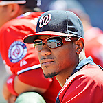 10 June 2012: Washington Nationals pitcher Edwin Jackson watches play from the dugout during a game against the Boston Red Sox at Fenway Park in Boston, MA. Harper scored the game winning run in the 9th inning as the Nationals defeated the Red Sox 4-3 to sweep their 3-game interleague series. Mandatory Credit: Ed Wolfstein Photo