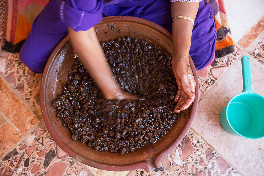 Morocco - Tidzi - Saadia Tighanimine's hands mixing the argan paste with water to extract the oil.