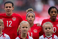 CARSON, CA - FEBRUARY 9: Christine Sinclair #12, Desiree Scott #11 and Ashley Lawerance #10 of Canada during a game between Canada and USWNT at Dignity Health Sports Park on February 9, 2020 in Carson, California.