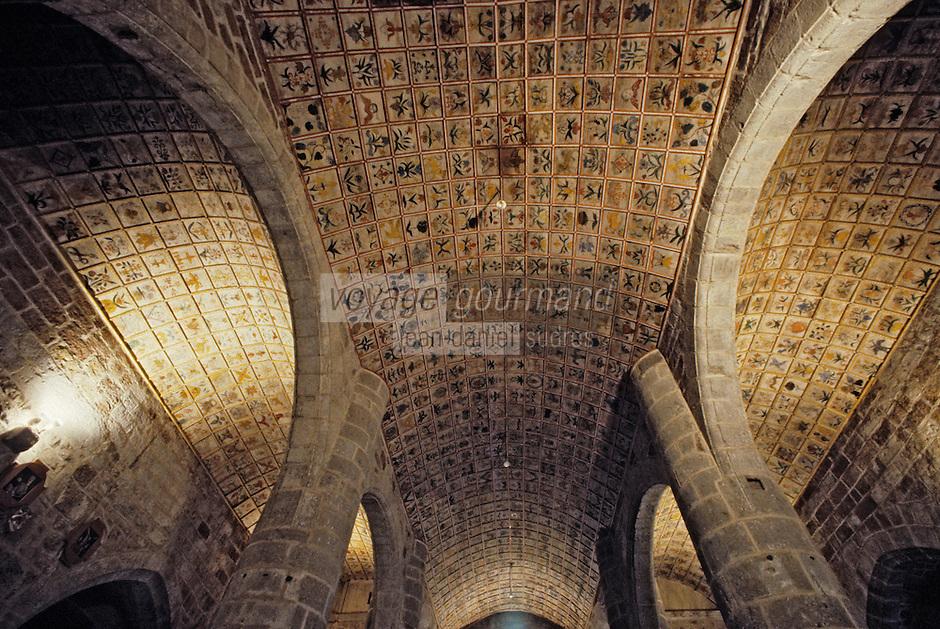 Europe/France/Auvergne/15/Cantal/Cheylade: Eglise romane - Voute à caissons en chène XVIIIème siècle