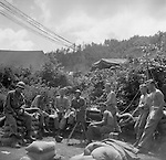 Signalmen and other soldiers fighting with the Second Infantry Division, during the Korean War, relax in an area surrouned by sand bags. These are photos of the 2nd Infantry Division in the Korean War in 1950 or 1951.