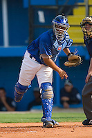 Catcher Fernando Cruz #16 of the Burlington Royals makes a throw to third base at Burlington Athletic Park August 4, 2009 in Burlington, North Carolina. (Photo by Brian Westerholt / Four Seam Images)