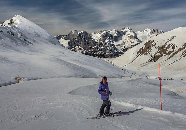 Colorado tourist skiing at Ciampac Ski Area, Canazei, Italian Dolomites.