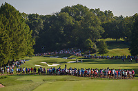A long shot of the 12th with a huge morning gallery gathered to watch the morning tee times during 1st round of the 100th PGA Championship at Bellerive Country Cllub, St. Louis, Missouri. 8/9/2018.<br /> Picture: Golffile | Ken Murray<br /> <br /> All photo usage must carry mandatory copyright credit (© Golffile | Ken Murray)