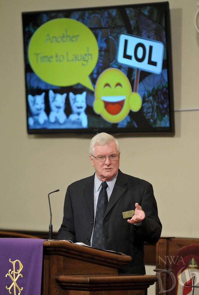 NWA Democrat-Gazette/BEN GOFF @NWABENGOFF<br /> The Rev. David Bentley offers humorous anecdotes on Sunday March 13, 2016 during the Laughter Sunday service at First United Methodist Church in Rogers.