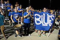 Kansas City, MO - Saturday May 07, 2016: FC Kansas City fans cheer against the Houston Dash during a regular season National Women's Soccer League (NWSL) match at Swope Soccer Village. Houston won 2-1.