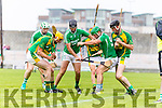 Tom Murnane Kilmoyley in action against Barry O'Grady Ballyduff in the County Senior Hurling Final at Austin Stack Park on Sunday.