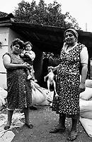 UNGARN, 07.1989.Miskolc-Diosgyor (korrekter: Di--sgy?r).Alltag vor dem Systemwechsel:  Frisch geschlachtetes Huhn bei einer Romafamilie. Diese lebt vom Daunenrecycling. Daher das Bettzeug im Hof. .Everyday life before the system change:  Freshly cut chicken with a Roma family. They live on dune recycling. That is why the courtyard is filled with pillows etc. .© Martin Fejer/EST&OST